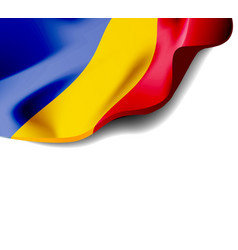 Waving flag of romania close-up with shadow vector