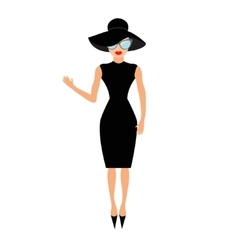 Woman in black elegant hat and sunglasses waving vector image