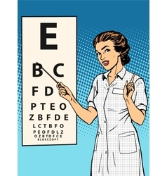 Woman ophthalmologist table verification of view vector