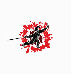 Woman with sword action kung fu pose graphic vector