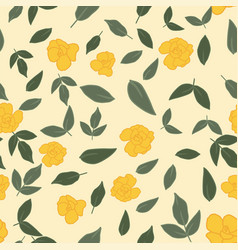 yellow roses green leaves seamless wallpaper vector image