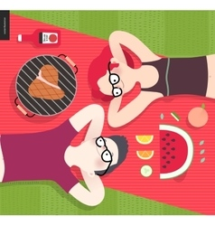 Young couple on picnictop viewvegetarian vs meat vector
