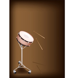 A Beautiful Snare Drum on Dark Brown Background vector image vector image