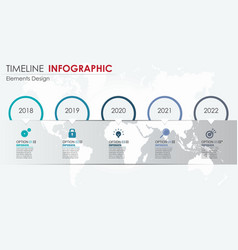 abstract element timeline infographics 5 option vector image