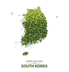 green leaf map of south korea vector image