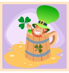 Leprechaun in a mug of beer St Patrick day vector image vector image