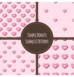 Four simple heart donuts seamless patterns vector image vector image