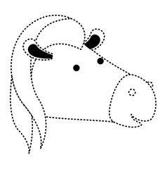 horse cartoon head in black dotted silhouette vector image vector image