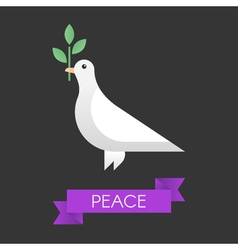 Peace dove with olive branch vector