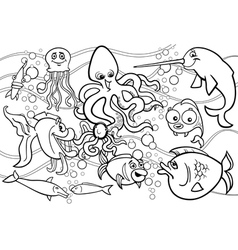 sea life animals group coloring page vector image vector image