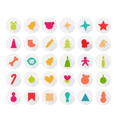 Set of Christmas Icons Isolated Flat Style with vector image vector image