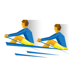 two people in the boat rowing competition vector image vector image