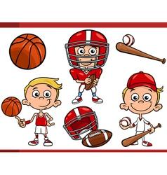 boy with sport equipment cartoon set vector image