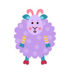 cute cartoon purple sheep animal toy colorful vector image