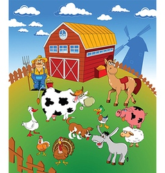 Farm scene cartoon vector image vector image