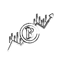 figure financial arrow up to bitcoin currency vector image