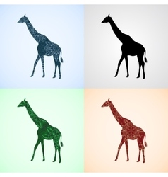 Set from giraffe with mandala patterns vector