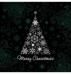 Christmas tree of snowflakes background vector