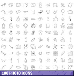 100 photo icons set outline style vector image