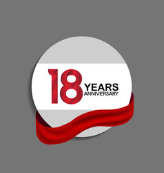 18 years anniversary design in circle red ribbon vector