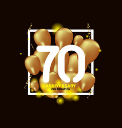 70 year anniversary white gold balloon template vector