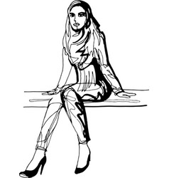 a woman is sitting on a bench in high-heeled shoes vector image