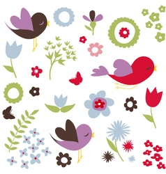 Birds and flowers spring background vector image