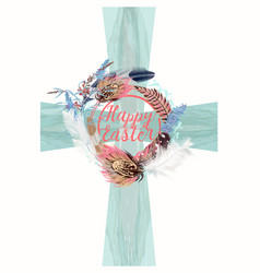 blue easter crest with decorations symbol faith vector image