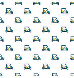 Blue golf cart pattern vector