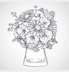 bouquet of chamomile flowers and petunias vector image