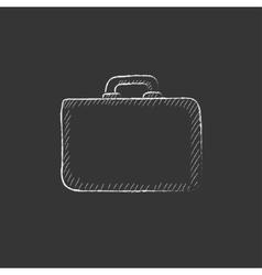 Briefcase Drawn in chalk icon vector