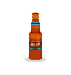 Brown bottle of beer with label refreshing vector