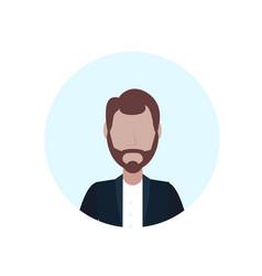 Brown hair man avatar isolated faceless beard male vector