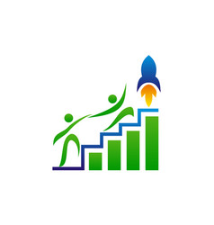 business marketing rocket handshake vector image