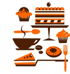 cakes and pastries vector image