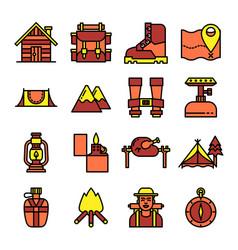 Camping color line icon vector