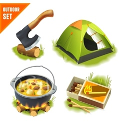 Camping icons set vector