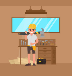 carpenter foreman joiner woodworker with large vector image