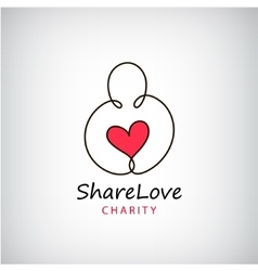 Charity logo Heart in hand symbol sign vector