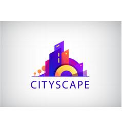 City scape real estate agency logo vector