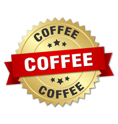 Coffee 3d gold badge with red ribbon vector