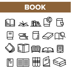 Collection library book sign icons set vector