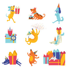 Collection of cute dogs in party hats with gift vector