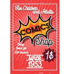 Color vintage comics shop banner vector
