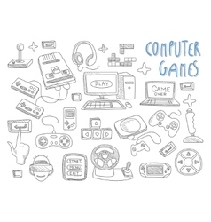 Computer games doodles icon set vector