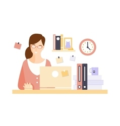 Content Woman Office Worker In Office Cubicle vector