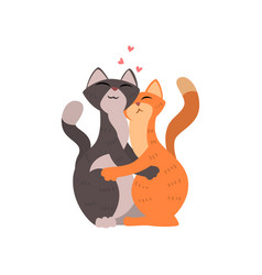 Couple of cats cute in love embracing each other vector