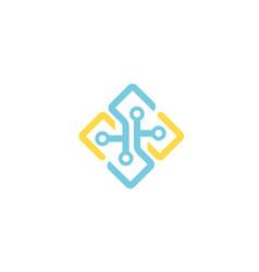 Creative box wires technology logo vector