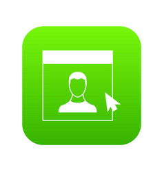 Cursor point man on monitor icon digital green vector