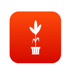 Decoration plant on pot icon digital red vector